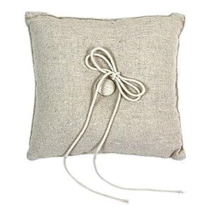 Koyal Wholesale Rustic Linen Ring Pillow, 7-Inch
