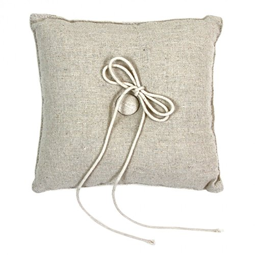 Koyal Wholesale Rustic Linen Ring Pillow, 7-Inch
