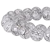 RUBYCA Round Crackle Druk Czech Crystal Pressed Glass Beads for Jewelry Making 10mm Strand (White)