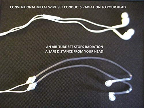 3.5mm Anti-Radiation, Stereo, Air Tube, Noise Isolating, Ear Buds with On-Off-Answer Volume Control Microphone for Smart Phone, Laptops, MP3 Players, Tablets and More Devices.