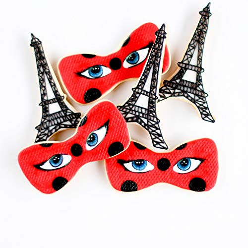 ½ Dz. Miraculous LadyBug in Paris Cookie Set! The Teenage Fashion Designing SuperHero! Birthday Themed Shower Party Favors or Gift!
