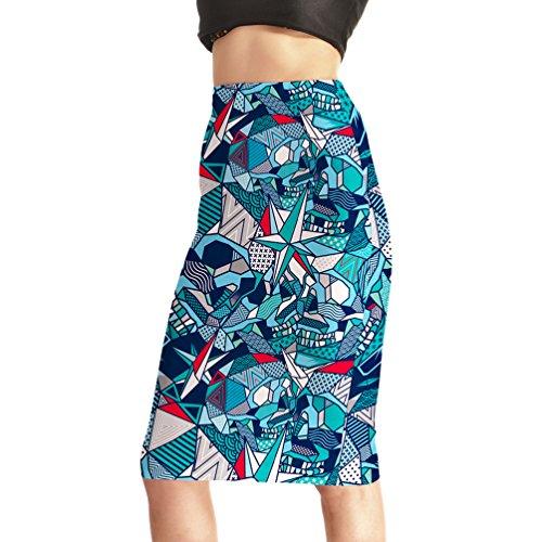 Fanii Quare Women's Elastic Casual Bodycon Print Midi Pencil Skirt Blue Cartoon L]()