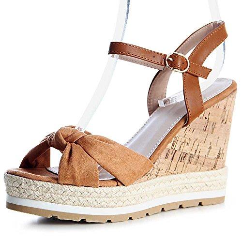 topschuhe24 - Sandalias de vestir para mujer marrón claro