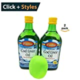 Carlson Norwegian Cod Liver Oil, Lemon.Without the Fishy Taste [16.9 fl oz (500ml)] 1100 mg of Omega-3s [2 pack] + Free Stress Ball