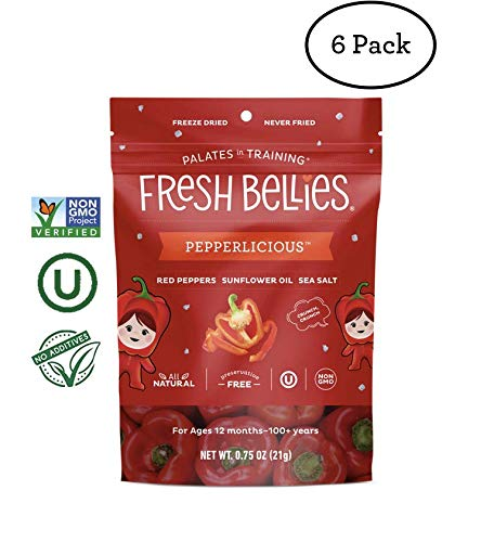 Fresh Bellies Vegan Snacks for Kids and Toddlers, No Added Sugars, Gluten Free, Paleo Friendly, Only 3 Ingredients, Non GMO, Kosher, 6 Pack - Pepperlicious