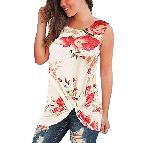 Witspace Women O-Neck Print T-Shirt Sleeveless Knot Tunics Fashion Short Blouse ()