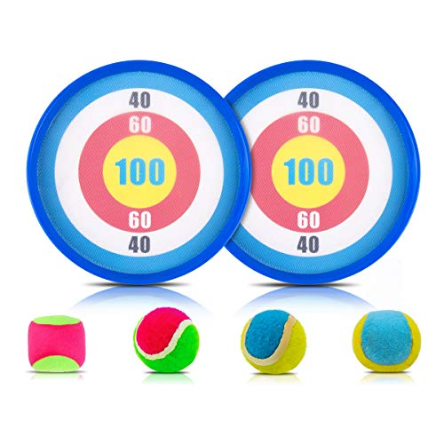 Suptee Catch and Toss Paddle Game Set Toss Ball and Disc Paddles with a Pair of 9.1 Paddles 4 Balls for Children & Adult, Outside & Inside