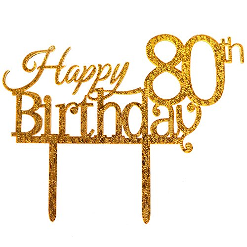 Glitter Gold Acrylic Happy 80th Birthday Cake Topper, 80 Birthday Party Cupcake Topper Decoration (80, gold)