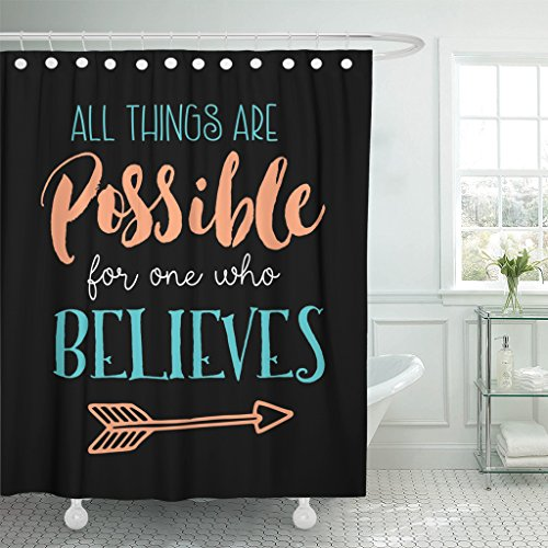 TOMPOP Shower Curtain All Things Are Possible for One Who Believes Biblical Design From Book of Mark with Arrow Accent on Black Waterproof Polyester Fabric 72 x 72 inches Set with Hooks by TOMPOP