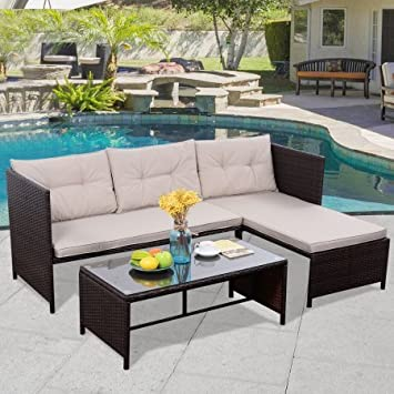 Amazon Costway 3 PCS Outdoor Rattan Furniture Sofa Set