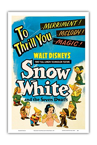 Walt Disney's Snow White and The Seven Dwarfs - to Thrill You Merriment! Melody! Magic! - Vintage Film Movie Poster c.1937 - Master Art Print - 12in x 18in