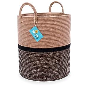 OrganiHaus XL Extra Large Cotton Rope Basket | 15×18 Nursery Storage Basket with Long Handles |Nursery Decor Organizer Basket | Living Room Blanket Organizer Basket | Brown and Black
