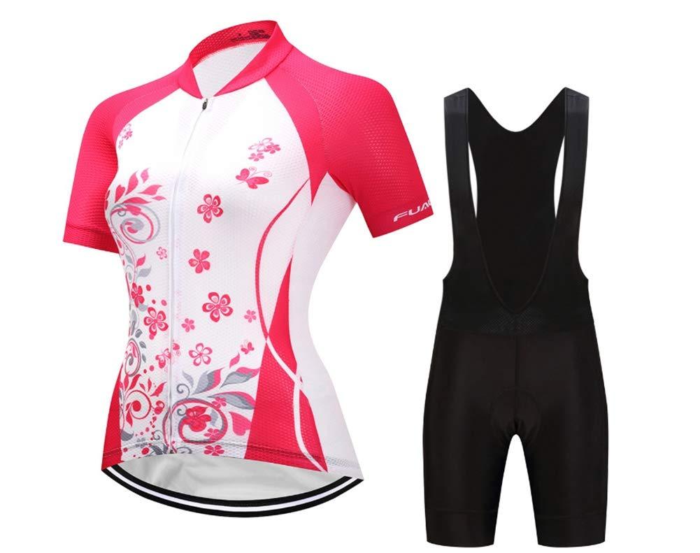 TOUK Frauen Radtrikot Set Gel Pad Mountainbike Fahrradbekleidung Sommer MTB Bike Jersey Anzug, XS