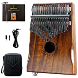 Moozica 17-Key EQ Kalimba, Koa Tone Wood Electric Finger Thumb Piano Built-in Pickup With 6.35mm Audio Interface and Professional Kalimba Bag