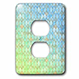 3dRose Uta Naumann Faux Glitter Pattern - Luxury Trendy Green And Teal Moroccan Arabic Quatrefoil Tile Pattern - Light Switch Covers - 2 plug outlet cover (lsp_268952_6)
