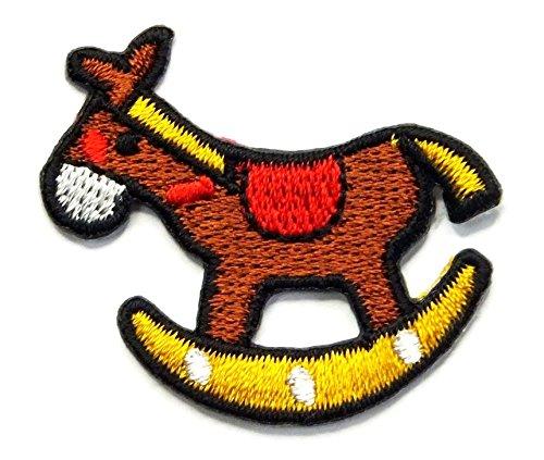 【ノーブランド品】アイロンワッペン ミニワッペン ワッペン 刺繍ワッペン 木馬 アイロンで貼れるワッペンの商品画像