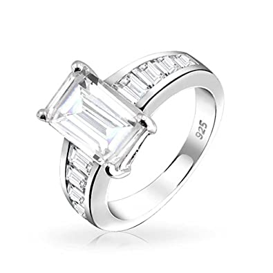 Amazon Com 925 Sterling Silver Emerald Cut Cz Engagement Ring With