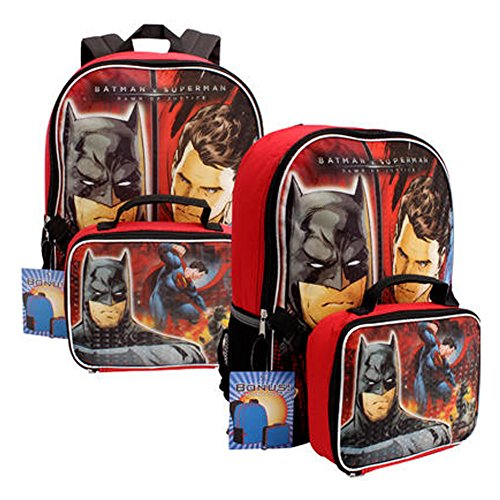DC Comics Batman v Superman Backpack w/ Detachable Lunch Bag Set - Red/Black (Dc Backpacks For Boys)
