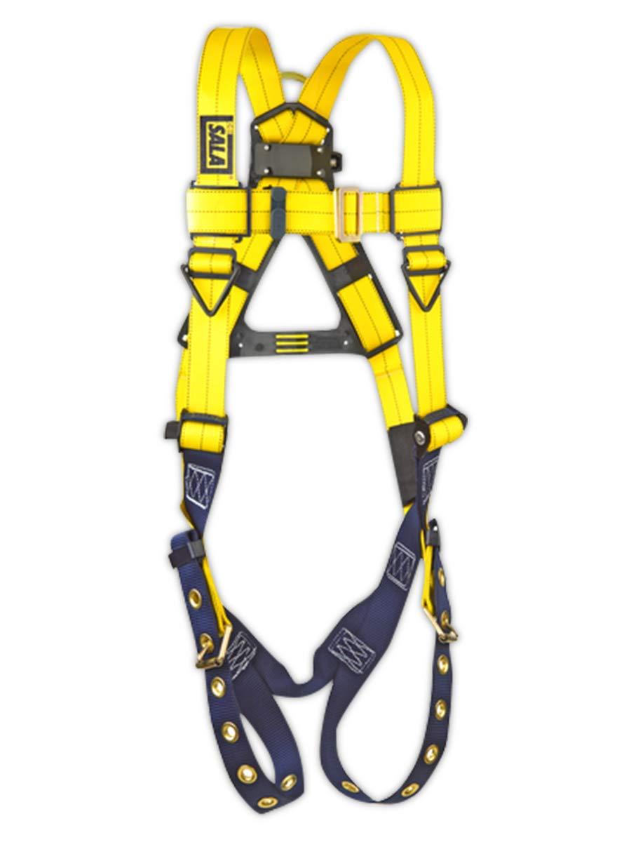 3M DBI-SALA,Delta 1101253 Full Body Harness, Back D-Ring, Tongue Buckle Leg Straps, 2X-Large, Yellow/Navy