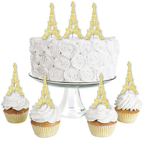 Gold Glitter Eiffel Tower - No-Mess Real Gold Glitter Dessert Cupcake Toppers - Paris Themed Baby Shower or Birthday Party Clear Treat Picks - Set of 24 (Cake Toppers Paris)