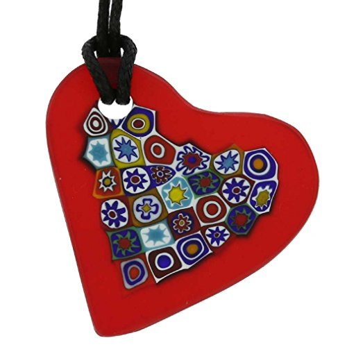 GlassOfVenice Murano Glass Matte Millefiori Heart Necklace - Red ()