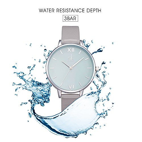 SK Women Watches Leather Band Luxury Quartz Watches Girls Ladies Wristwatch Relogio Feminino (Grey) by SK (Image #2)