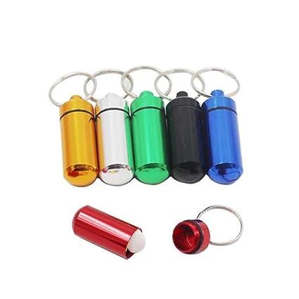 JUNSHUO 6 pcs Pastillero Píldoras Llavero Caja Botella Contenedor De Aluminio Impermeable Llavero contenedor píldora Casos y divisors