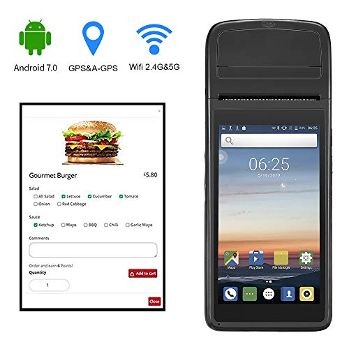 Android POS Terminal Receipt Printer MUNBYN, 5.5 inch Touch Screen, support 3G WiFi BT GPS NFC for Restaurant Eatery Diner Snack Bar Cafeteria Retail Warehouse to Print Receipt Mobile Handheld Printer