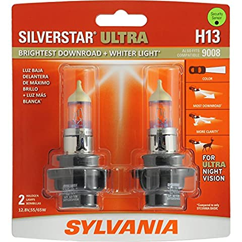 SYLVANIA H13 SilverStar Ultra High Performance Halogen Headlight Bulb, (Contains 2 Bulbs) (Sylvania Ultra H13)