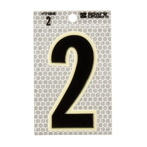 Brady 3010-2, 52252 Glow-in-The-Dark/Ultra Reflective Number - 3, 12 Packs of 10 pcs