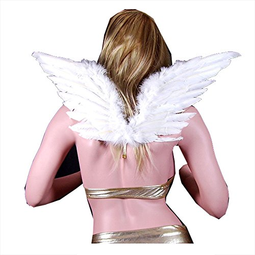SACASUSA (TM) Large White Feather Angel Fairy Wings with Free Halo for Party (Pink Nymph Fairy Costume)