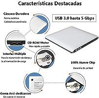 VersionTECH. Grabadora Lector CD/DVD USB 3,0 Ultra Slim Portátil ...