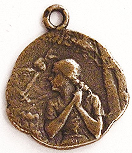 Saint Joan of Arc at the Stake Medal - True Bronze Antique Religious Replica - Vintage Catholic Pendant - Medal and Chain Necklace with Gift Box (Bronze Art Medal)