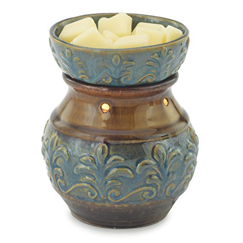 Candle Warmers Etc. Round Illumination Candle Warmer, Fleur De Lis - Blue