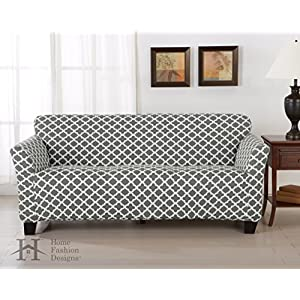 Home Fashion Designs Printed Twill Sofa Slipcover. One Piece Stretch Couch Cover. Strapless Sofa Cover for Living Room. Brenna Collection Slipcover. (Sofa)