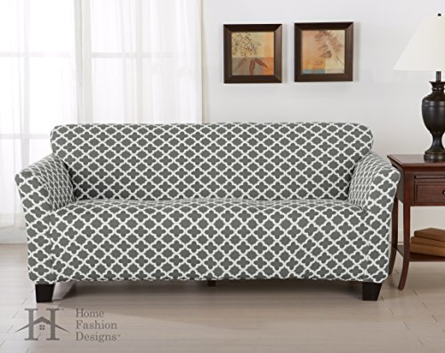 Brenna Collection Basic Strapless Slipcover. Form Fit, Slip Resistant, Stylish Furniture Shield / Protector Featuring Lightweight Twill Fabric. By Home Fashion Designs Brand. (Sofa, Charcoal)