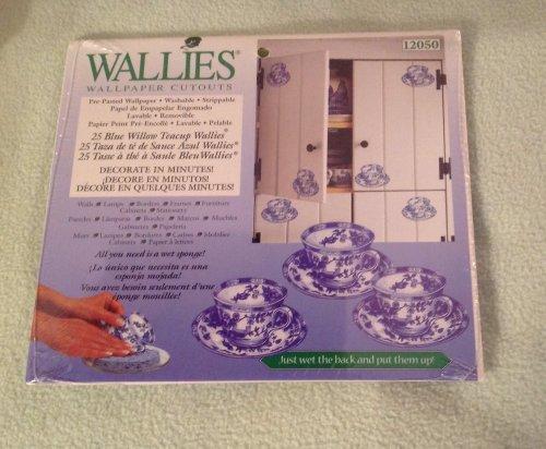 Blue Wallpaper Cut Out (Wallies Wallpaper Cutouts Pre-pasted 25 Blue Willow Teacup Wallpaper Wallies)