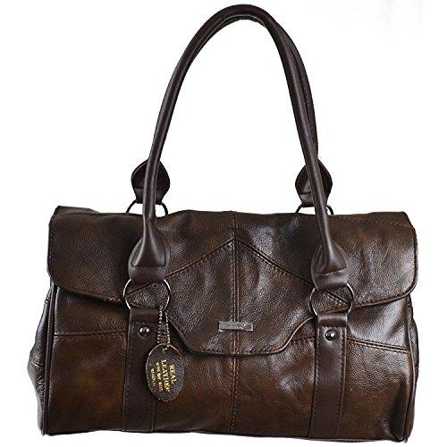 Ladies Leather Shoulder Bag/Handbag with Folder Over Flap and Magentic Clasp. (Dark Brown)