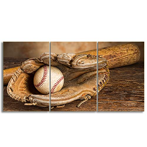 KALAWA 3 Panel Large Baseball Sports Flag Rustic Wall Art Canvas Vintage Prints Retro Home Decor Decals Pictures for Living Room Bedroom Framed Ready to Hang(20''W x 28''H)