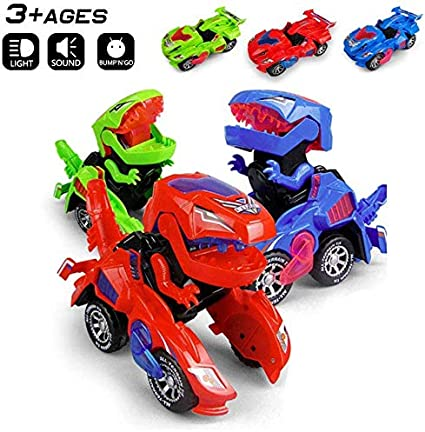 NEW Transforming Dinosaur LED Car With Light Sound Kids Toy Gift 2019