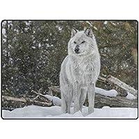 Cooper girl White Wolfs Area Rug Mat Carpet 53x4 for Living Room Bedroom Dining Room