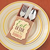 Set your Thanksgiving table in style with these Eat Drink and Be Thankful Cutlery Holders. Just slip your cutlery or silverware and napkin inside the holders to finish off each place setting.