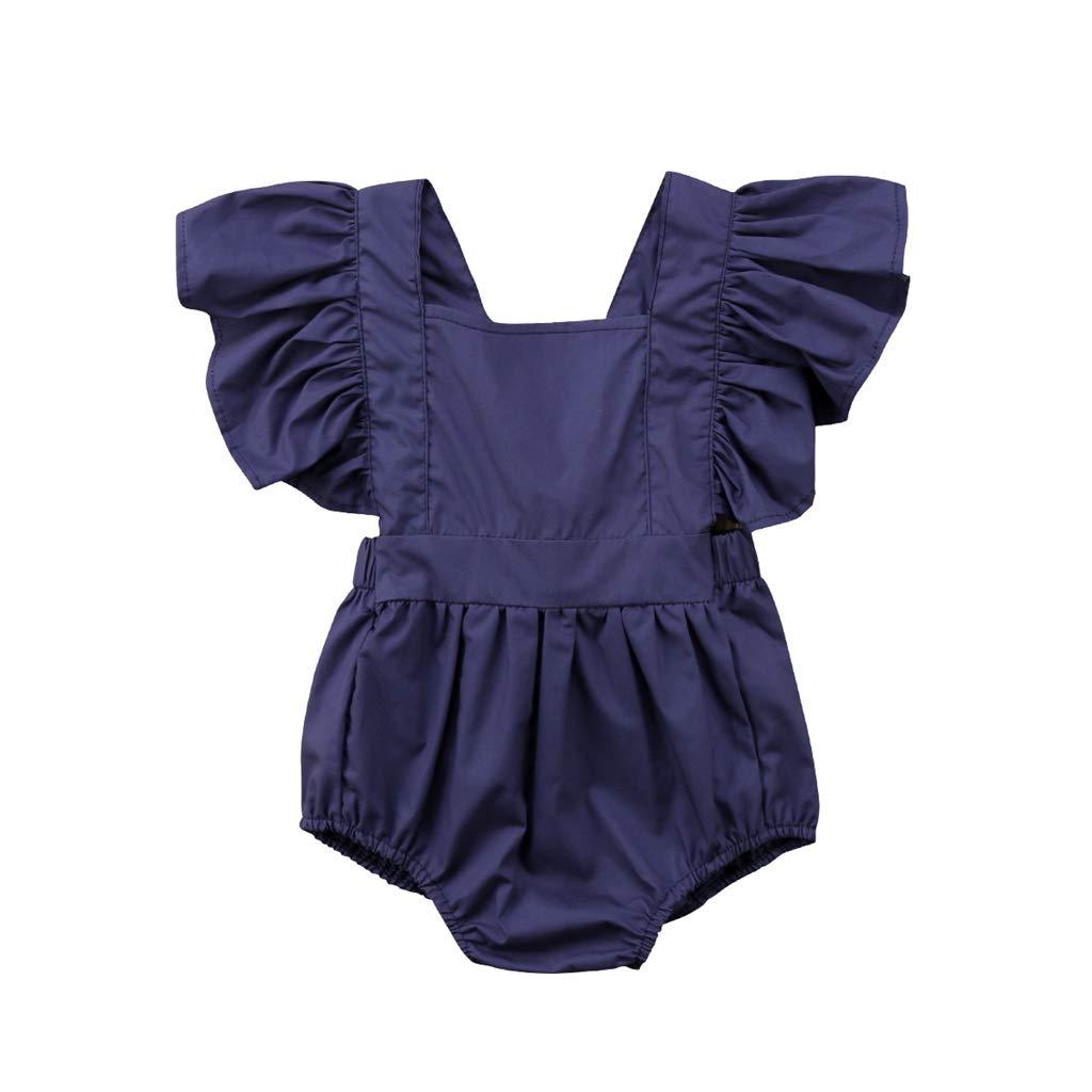 Cute Children Jumpsuit 0-18M Baby Girls Lace Denim Harem Pants Romper Newborn Clothing Trousers