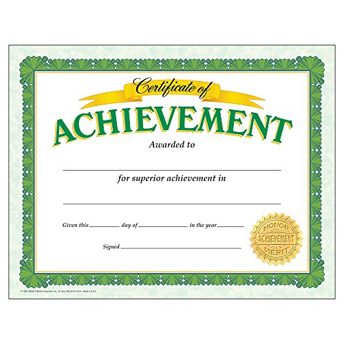 Certificate Of Achievement Classic Certificates; 30 Per Pack