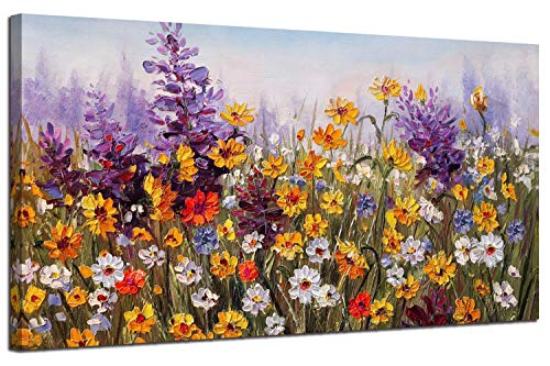 - Ardemy Canvas Wall Art Daisy Colorful Bloosom Yellow Flowers Artwork Painting Prints Modern Picture Framed Ready to Hang for Living Room Bedroom Kitchen Office Home Decorations-40inx20in