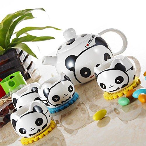 Panbado Porcelain Cute Cartoon Animal Teapot Novelty Ceramic Lovely Panda Tea Set with 1.7 oz. Cups, 17 oz. (Cute Teapot)