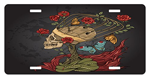 Ambesonne Skull License Plate, Evil Mexican Sugar Skeleton with Bush of Roses Snake and Butterfly Artwork, High Gloss Aluminum Novelty Plate, 5.88