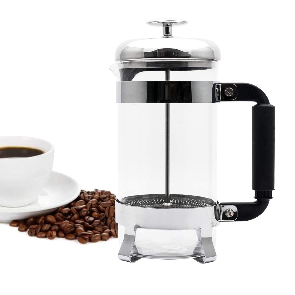 French Coffee Press - Strengthened Heat Resistant Borosilicate Glass and 3 Level Filtration 304 Grade Stainless Steel - Perfect To Make Fresh French Coffee, Tea, Espresso or Even Cold Brew