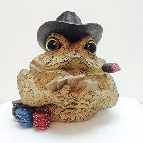 Homestyles Toad Hollow #95961 Figurine Poker Gambler with Playing Cards and Gambling Chips Character Garden Statue Toad Small Figure Natural Brown For Sale