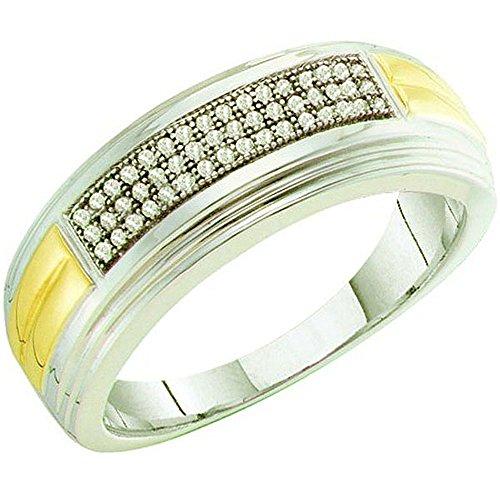 0.15 Carat (ctw) 10K White Gold White Diamond Men's Micro Pave Hip Hop Wedding Band by DazzlingRock Collection